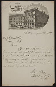 Letterhead for B.A. Atkinson & Co., furniture warerooms, 827 Washington Street, Boston, Mass., dated June 24, 1889
