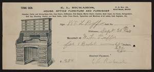 Receipt for E.L. Rickards, house, office furniture and furnisher, P.O. Box 39, Whitman, Mass., dated September 30, 1898