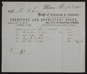 Billhead for William B. Phelps, manufacturer and dealer in furniture and upholstery goods, Nos. 17 to 27 Brattle Street, Boston, Mass., dated February 15, 1862