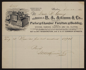 Billhead for B.A. Atkinson & Co., parlor and chamber furniture and bedding, 827 to 847 Washington and 2 to 10 Common Streets, Boston, Mass., dated December 22, 1891