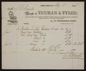 Billhead for Truman & Tyler, rich and common furniture, No. 107 Westminster Street, Providence, Rhode Island, dated May 8, 1858