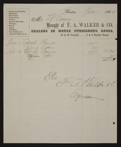Billhead for F.A. Walker & Co., dealers in house furnishing goods, 83 & 95 Cornhill Street and 6 & 8 Brattle Street, Boston, Mass., dated January 1, 1864