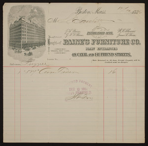 Billhead for Paine's Furniture Co., 48 Canal and 141 Friend Streets, Boston, Mass., dated December, 10, 1886