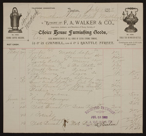 Billhead for F.A. Walker & Co., choice house furnishing goods, 83 & 85 Cornhill and 6 & 8 Brattle Streets, Boston, Mass., dated July 1, 1892