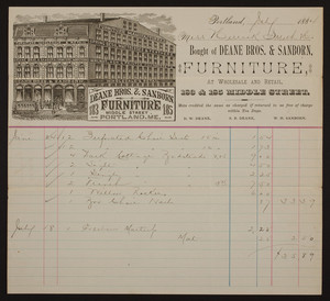Billhead for Deane Bros. & Sanborn, furniture, 183 & 185 Middle Street, Portland, Maine, dated July, 1884