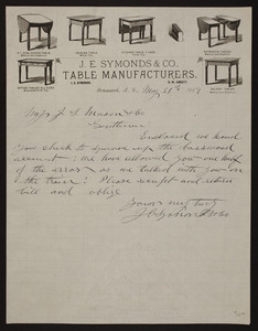 Letterhead for J.E. Symonds & Co., table manufacturers, Penacook, New Hampshire, dated May 31, 1889