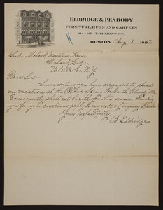Letterhead for Eldridge & Peabody, furniture, rugs and carpets, 114-116 Tremont Street, Boston, Mass., dated August 8, 1902