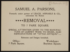 Trade card for Samuel A. Parsons, cabinet work, 7 Park Square and Boylston Square, Boston, Mass., dated November 14, 1895