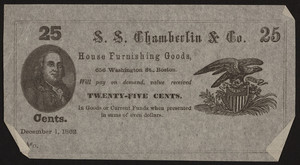 Coupon for S.S. Chamberlin & Co., house furnishing goods, 656 Washington Street, Boston, Mass., December 1, 1862