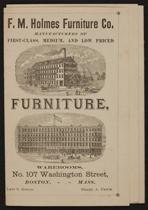 F.M. Holmes Furniture Co., manufacturers of first-class, medium, and low priced furniture, No. 107 Washington Street, Boston, Mass., 1881