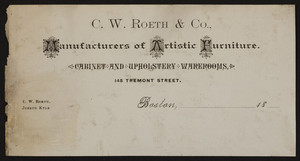 Billhead for C.W. Roeth & Co., manufacturers of artistic furniture, 145 Tremont Street, Boston, Mass., 1800s