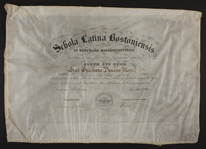 Boston Latin School diploma, 1891