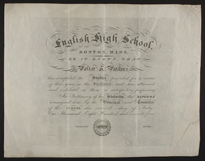 English High School diploma, 1874