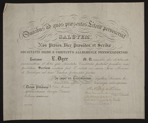 Allegheny County Medical Society certificate