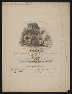 American Baptist Home Mission Society membership certificate, 1852