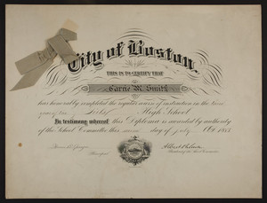 Girl's High School diploma, 1883