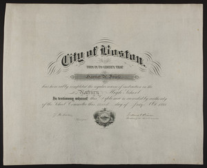 Roxbury High School diploma, 1880