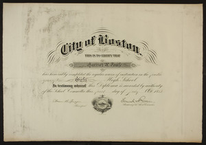 Girl's High School diploma, 1882