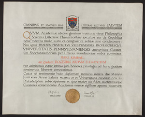 University of Pennsylvania diploma, 1945
