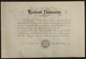 Harvard University certificate in Greek