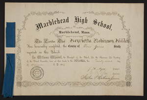 Marblehead High School diploma, 1867