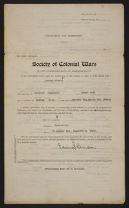Membership application to the Society of Colonial Wars