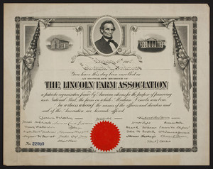 Lincoln Farm Association membership certificate