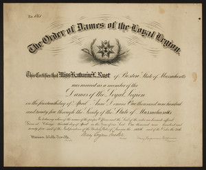 Order of Dames of the Loyal Legian membership certificate