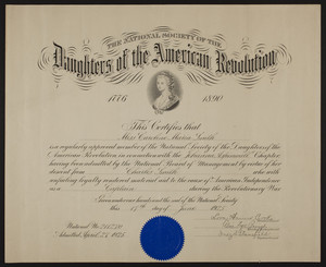 Daughters of the American Revolution membership certificate, 1925