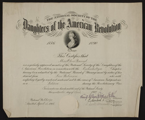 Daughters of the American Revolution membership certificate, 1909