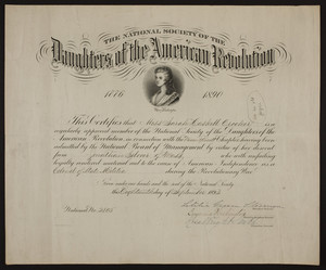Daughters of the American Revolution membership certificate, 1893
