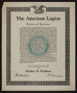 American Legion resolution of appreciation