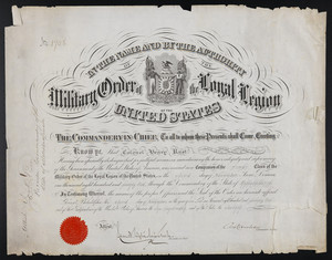 Military Order of the Loyal Legion membership certificate