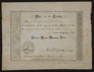American Baptist Missionary Union membership certificate, 1851