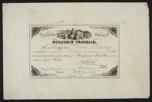 Honor to the Memory of Benjamin Franklin statue certificate