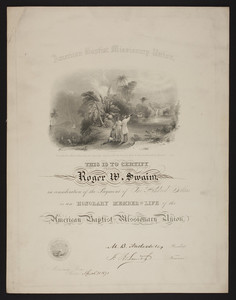 American Baptist Missionary Union membership certificate, 1871
