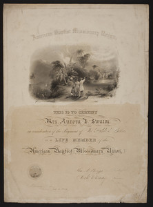 American Baptist Missionary Union membership certificate, 1850