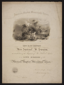American Baptist Missionary Union membership certificate, 1846