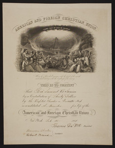 American and Foreign Christian Union membership certificate