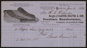 Billhead for Samuel Graves & Son, furniture manufacturers, 139 Blackstone Street, Boston, Mass., dated June 2, 1876