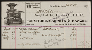 Billhead for F.E. Fuller, dealer in furniture, carpets & ranges, 58, 60 & 62 Dwight Street, Springfield, Mass., dated October 31, 1899