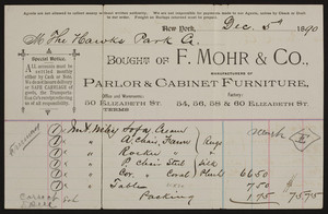 Billhead for F. Mohr & Co., manufacturers of parlor & cabinet furniture, 50 Elizabeth Street, New York, New York, dated December 5, 1890