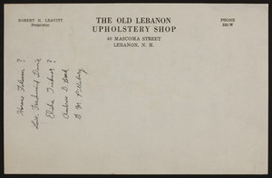 Letterhead for The Old Lebanon Upholstery Shop, 40 Mascoma Street, Lebanon, New Hampshire, undated