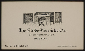 Trade card for The Globe-Wernicke Co., furniture, 91-93 Federal Street, Boston, Mass., undated