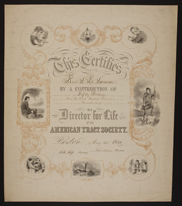 American Tract Society certificate