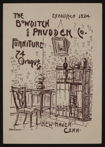 Trade card for The Bowditch and Prudden Co., furniture, 74 Orange Street, New Haven, Connecticut, undated
