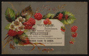 Trade card for John Wille, new and second hand furniture, 889 High Street, Providence, Rhode Island, undated