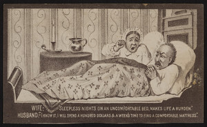 Trade card for the Keystone Roll-Up Spring Mattress, Keystone Installment Co., 607 Broadway, Albany, New York, undated