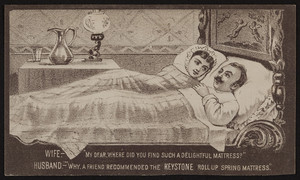 Trade card for the Keystone Roll-Up Spring Mattress, Keystone Installment Co., 607 Broadway, Albany, New York, 1881