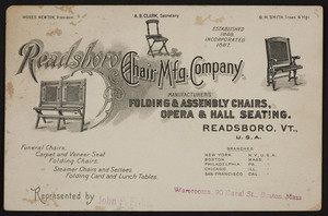 Trade card for the Readsboro Chair Mfg. Company, Readsboro, Vermont and 90 Canal Street, Boston, Mass., undated